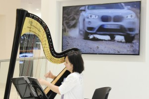 Harpist at the BMW 7 Series launch evening at Williams Liverpool BMW